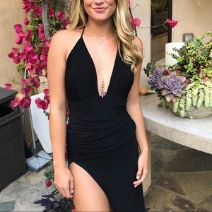 Lulus-Lux LA dress black deep v and high slit